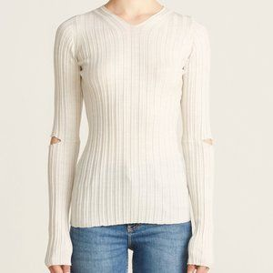 Helmut Lang Slash Rib V-neck Wool Tee